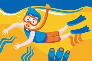 uomo in maschera snorkeling si tuffa sott'acqua con pesci tropicali nella piscina del mare di barriera corallina. vettore