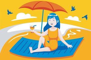 felice giovane donna gode di bere in spiaggia. vettore