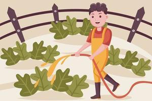 contadino uomo che innaffia le piante in giardino. vettore