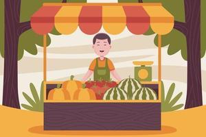 contadino uomo felice che vende frutta al mercato contadino. vettore