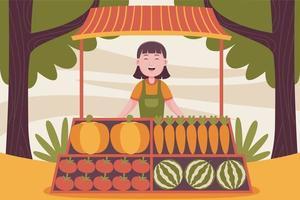 agricoltore donna felice che vende frutta al mercato contadino. vettore