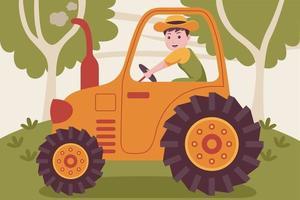contadino uomo felice alla guida del trattore in giardino. vettore