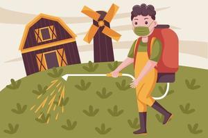 uomo agricoltore spruzzare pesticidi in fattoria indossando maschera. vettore