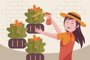 donna contadina spruzzare pesticidi in fattoria. vettore