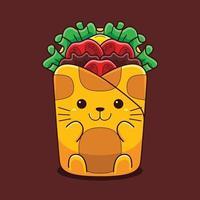illustrazione di gatto carino avvolgere con stile cartone animato piatto. vettore