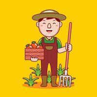 professione di agricoltore uomo in stile design piatto. vettore