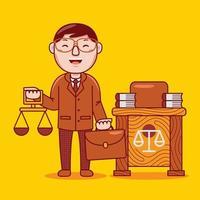 professione di avvocato uomo in stile design piatto. vettore