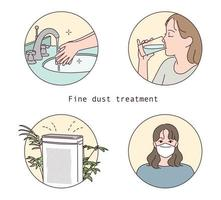 trattamento delle polveri sottili. illustrazione del manuale di informazioni. vettore