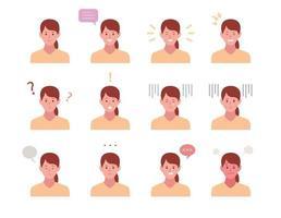 set di personaggi femminili faccia con varie espressioni di emozione. vettore