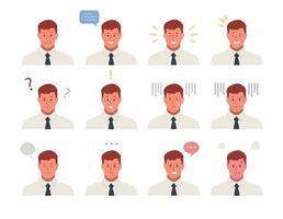 set di personaggi maschili faccia con varie espressioni di emozione. vettore