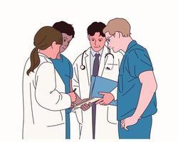 i medici si stanno riunendo in un unico luogo per condividere le loro opinioni. vettore