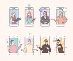 i personaggi sullo schermo del cellulare compiono vari gesti. vettore