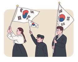 persone in costumi tradizionali coreani stanno sventolando taegeukgi. vettore