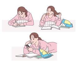 una ragazza è comodamente sdraiata sul pavimento, scrive, mangia spuntini e guarda il suo cellulare. vettore