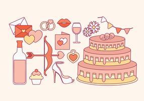 Elementi di nozze vettoriali