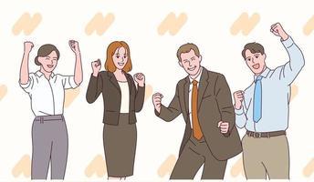le persone in giacca e cravatta mostrano espressioni positive con i pugni chiusi. vettore