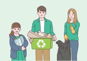 persone che raccolgono i rifiuti per proteggere l'ambiente. vettore