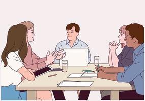 le persone si siedono intorno al tavolo e si scambiano opinioni una dopo l'altra. vettore