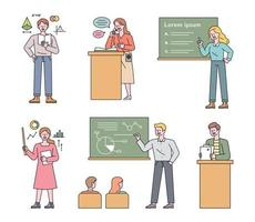 una raccolta di personaggi insegnanti che insegnano in vari modi. illustrazione di vettore minimo di stile di design piatto.