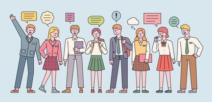studenti e studentesse in uniforme scolastica stanno in piedi ed esprimono le loro opinioni. illustrazione di vettore minimo di stile di design piatto.