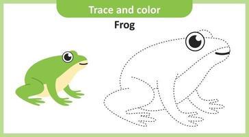 traccia e colora la rana vettore