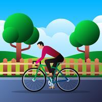 L'uomo sulla bici va lavorare nell'illustrazione del parco della città vettore