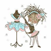 ragazza carina stilista afro con nastro metrico, stile doodle vettore