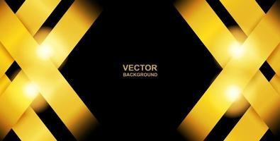 astratto. strato di sovrapposizione dorato su sfondo nero. luce e ombra. sfondo futuristico moderno. vettore. vettore