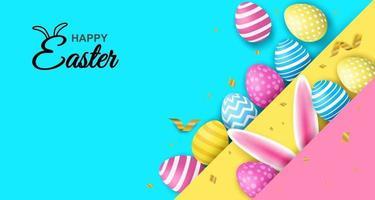 Buona Pasqua. celebrazione. uova di Pasqua colorate e orecchie da coniglio su sfondo di carta colorata. luce e ombra. vettore. illustrazione. vettore