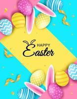 Buona Pasqua. celebrazione. uova di Pasqua colorate e orecchie da coniglio su sfondo di carta colorata. luce e ombra vettore