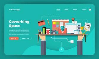 pagina di destinazione dello spazio di coworking con elementi aziendali sulla scrivania vettore