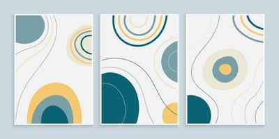 design di copertina alla moda con forme organiche e linee a mano libera vettore