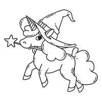 unicorno di halloween con bacchetta magica e cappello da strega. vettore