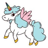 unicorno con le ali. vettore
