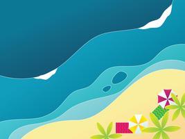 Sfondo di spiaggia, mare e onda vettore
