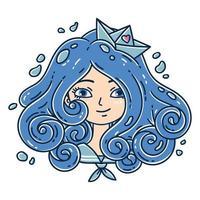 ragazza con i capelli ricci. ragazza del mare. vettore