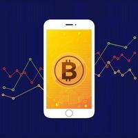 tecnologia bitcoin sullo schermo del telefono cellulare vettore