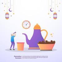 uomo musulmano che aspetta il tempo iftar del ramadan. illustrazione concetto di ramadan kareem vettore