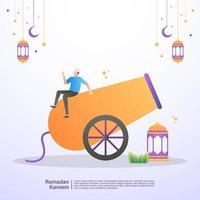 un musulmano è felice di accogliere il mese di ramadan. illustrazione concetto di ramadan kareem vettore