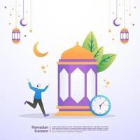 l'uomo musulmano è felice quando rompe il digiuno del ramadan. illustrazione concetto di ramadan kareem vettore