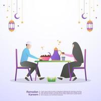le famiglie musulmane mangiano insieme l'iftar del ramadan nella felicità. illustrazione concetto di ramadan kareem vettore