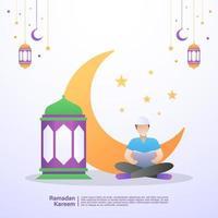 l'uomo musulmano legge il Corano nel mese di Ramadan. illustrazione concetto di ramadan kareem vettore