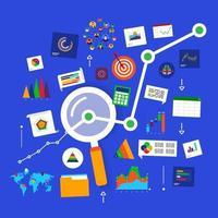 analisi dei dati del concetto di design piatto. visualizzare con grafico e grafico la crescita del marketing. illustrazione vettoriale. vettore