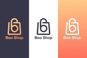combinando il logo della lettera b con una borsa della spesa, il concetto di un logo dello shopping. vettore