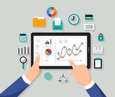 analisi dei dati aziendali su tablet vettore