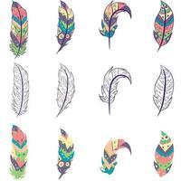 element pack con piume colorate e schizzi isolati. collezione di oggetti bohémien hippie con motivi aztechi e orientali. vettore