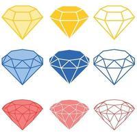 illustrazione di diamanti, in tre tipi di taglio, in silhouette e linee vettore