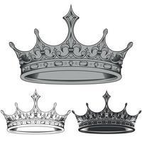 disegno vettoriale di sagome di corona reale in bianco e nero