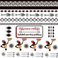 elementi tribali etnici confezionano con bordi e motivi africani. raccolta di modelli senza cuciture popolari e nazionali dall'africa. sfondi ripetuti isolati con scarabocchi culturali aztechi, maya e indiani. vettore
