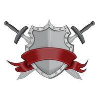 disegno vettoriale di stemma con nastro rosso